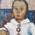 'Berik mit Tamarin', Öl und Platingold auf Holz, 57 x 80 cm