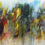Ich kann die Sprache dieses kühlen landes nicht verstehen Acryl auf leinwand 3 x 80 x 130 cm Triptychon Lillemor Mahlstaedt